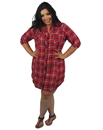 Derek Heart Plus Size Plaid Flannel 3/4 Sleeve Dress, XX-Large