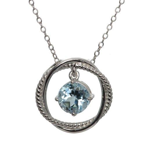 Sterling Silver Blue Topaz Dangle Pendant Necklace, 18