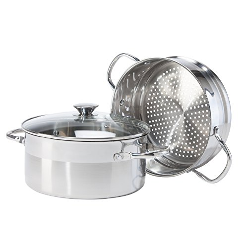 Oggi 5634 3 Piece Stainless Steel Pro Vegetable Steamer Set, 5 quart, Silver