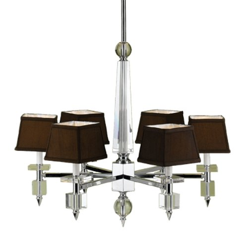 Candice Olson Cluny 6 x 40-Watt Light Chandelier, Chrome with Strong Crystal Accents and Chocolate Poly/Silk Shades