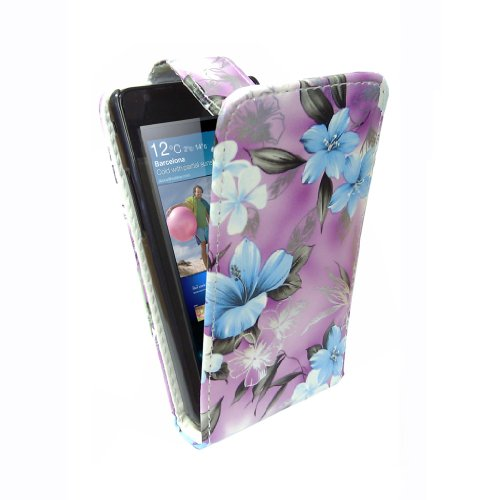 StyleBitz / Samsung Galaxy S2 / i9100 / stylish purple & blue floral Stoff Flip fall / neu