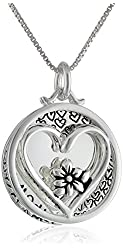"""Sterling Silver """"Mother Daughter Friends Forever"""" Reversible Two-Piece Heart and Flower Necklace, 18"""""""