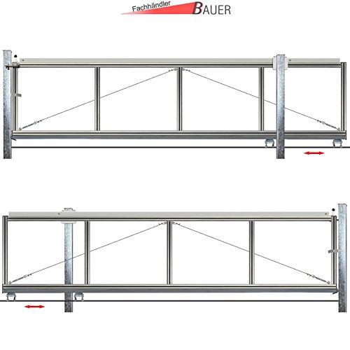 schiebetor hoftor bausatz h 80 b 320 freitragend. Black Bedroom Furniture Sets. Home Design Ideas