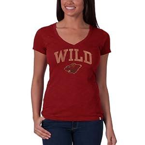 NHL Minnesota Wild V-Neck Scrum Tee, Rescue Red by