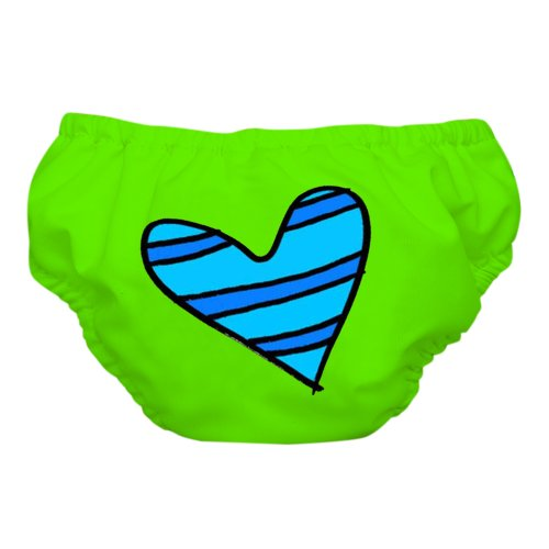Charlie Banana Reusable Swim Diaper & Training Pants - Small (Blue Petit Coeur on Green)