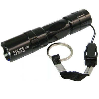 Police 3W Led High Power Waterproof Keyring Torch Black (NF-037-45)