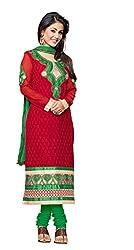 Blissta Red Georgette karachi salwar suit dress material