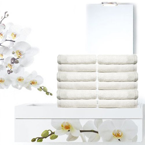 Royal Resort Collection - 12 Piece Washcloth Set, Ultra Upscale Terry Cloth, Color: Pure White, 100% Eco-Friendly Turkish Cotton