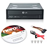 LG WH16NS40 16X Blu-ray BD/BDXL/MD M-DISC Burner Drive 3D Playback + Nero 12 Essentials Burning Software + Sata Cable Kit