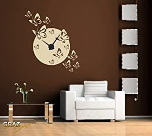 wandtattoo uhr mit uhrwerk wanduhr design schmetterling schwarm deko f r wohnzimmer schlafzimmer. Black Bedroom Furniture Sets. Home Design Ideas