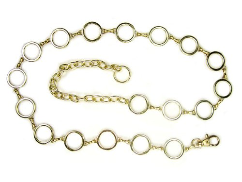 Ladies Metal Circle Chain Belt Color: Gold Size: O/S - 39 End To End