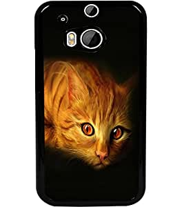 ColourCraft Cat Look Design Back Case Cover for HTC ONE M8