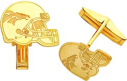 14K Gold NFL Denver Broncos Football Helmet Cuff Links