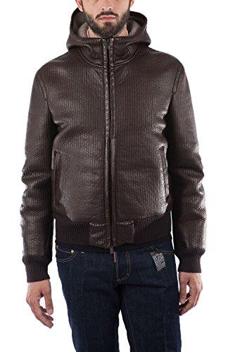Fendi Giubbotto in pelle e lana vergine, colore Marrone, taglia L