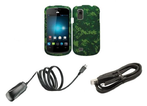Zte Avail 2 (At&T) - Accessory Combo Kit - Army Green Camo Design Shield Case + Atom Led Keychain Light + Micro Usb Cable + Wall Charger