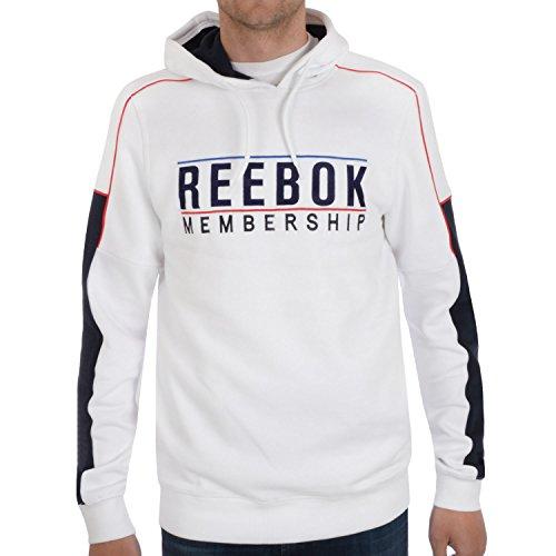 Reebok adesione Maglione con cappuccio da uomo White Large