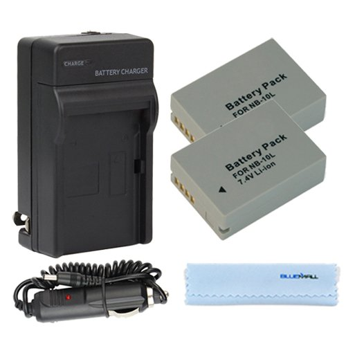GTMax 2x NB-10L Replacement Digital Camera Battery, Travel Charger with Car Adapter