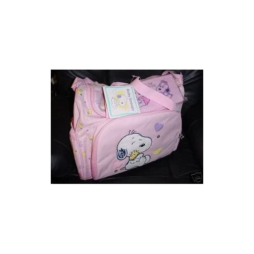 snoopy baby diaper bag pink girls new large big size diaper tote bags baby. Black Bedroom Furniture Sets. Home Design Ideas