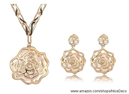 Nicedeco Je-Sw-Tz019-Gold,Swarovski Elements Austrian Crystal Jewelry Sets,Vintage Rose Flowers,Necklace And Earring(2-Piece Set),Elegant Style And Exquisite Craftsmanship