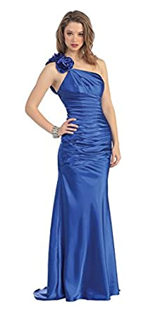 Prom One Shoulder Sateen Bridesmaid Dress Long Gown #950 (12, Royal Blue)