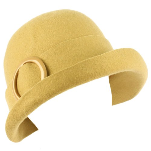 100% Wool Winter Structured Upturn Brim Cloche Bucket Bell Belt Church Hat Camel