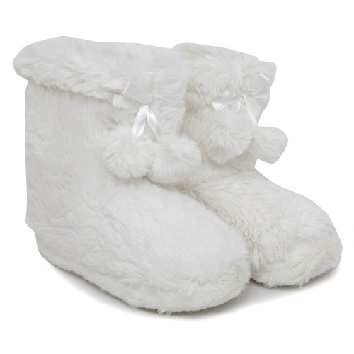 Image of Girls Soft Indoor Footwear/Slipper Boots with Pom Poms (B009OUAAWK)