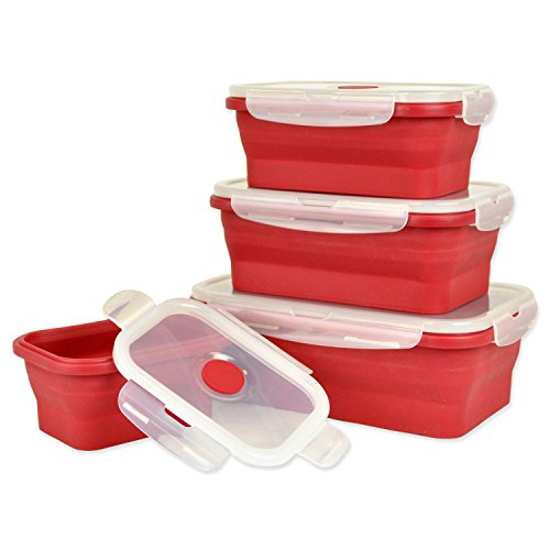 DII Silicone Collapsible, Airtight Food Storage Containers, Dishwasher & Microwave Safe, BPA Free, Snap On Lid, Set of 4, Red - Assorted Sizes