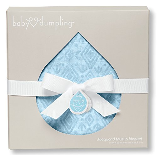 "Baby Dumpling Jacquard Muslin Swaddle Blanket, Blue Diamonds, 35"" x 35"""