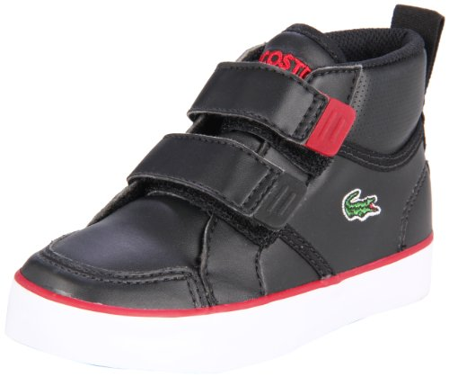 Lacoste Talmont Hook and Loop Sneaker (Toddler/Little Kid/Big Kid),Black/Red,4 M US Toddler
