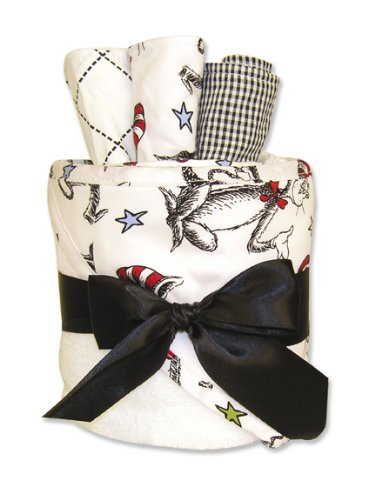 Trend Lab Hooded Towel Gift Cake, Dr Seuss Cat in the Hat Print