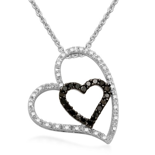 Sterling Silver Black and White Diamond Double Heart Pendant Necklace (1/5 cttw, I-J Color, I2-I3 Clarity), 18