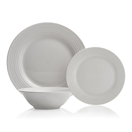 Brilliant - 12 Piece Stripe Round Cream Porcelain Dinnerware Set, Service for 4 (Porcelain Service For 12 compare prices)