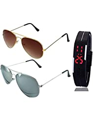 GOLDEN BROWN AVIATOR SUNGLASSES AND SILVER MERCURY AVIATOR SUNGLASSES WITH TPU BAND RED LED DIGITAL BLACK DIAL...