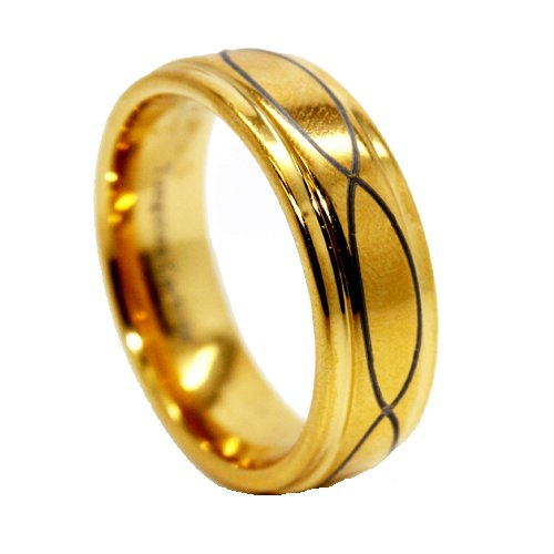 Gold Color Plated Tungsten Carbide Octagon Faceted Comfort Fit Half-Round Band Ring