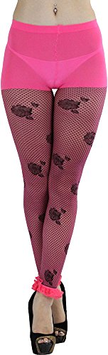 ToBeInStyle Women's Fishnet Footless Tights with Floral Print and Lace Anklet
