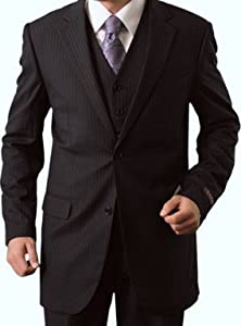 Elegant Men's Two Button Three piece Strip Suit
