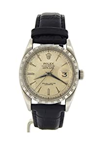 Mens VINTAGE Rolex Stainless Steel Datejust Watch Black w/Silver DIal 6605