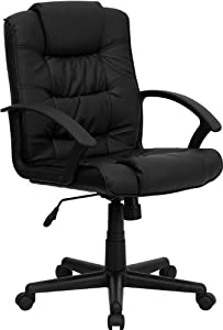 Flash Furniture Mid-Back Black Leather Office Chair