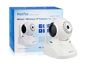 HooToo HT-IP210F Wired/Wireless WiFi Network Camera, 16-LEDs (Night Vision) Extended Survey Area, Pan/Tilt (Horizontal:320° & Vertical: 120°), Built-in Mic & Speaker for Two-Way Audio Communication, Embedded IR Filter for Much Real Colors, Free DDNS Link for WAN View, Smartphone App from Apple Store, White