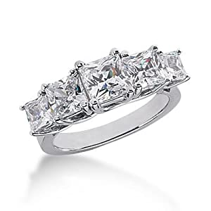 950 Platinum Diamond Anniversary Wedding Ring 5 Princess Cut Diamonds 3.45 ctw. 133WR564PLT - Size 5