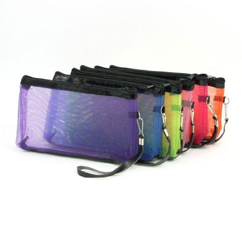Piece Mesh Design Zipper Ladies Makeup Bag, Multi Color, 0.17