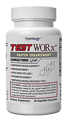 Top Selling Testosterone Booster Supplement - Test Worx - 6 Week Cycle - Made In The USA- Ingredients Proven In Human Trials To Improve Athletic Performance.
