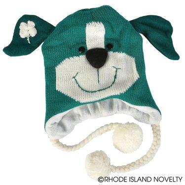 St. Patricks Hat -- Lucky Dog Knit Hat with Shamrock - 1