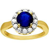 1 3/8 ct Blue & White Sapphire Ring 14K Gold