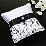 Black And White Wedding Ring Pillow With Bow & Silver Rhinestone