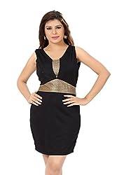 Ishin Nylon mesh Black and gold Pencil Dress