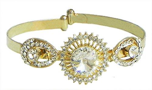 Faux Cubic Zirconia Studded Cuff Bracelet - Metal