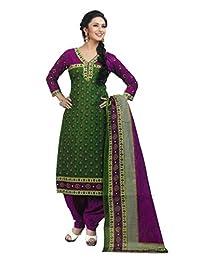 SGC Green & Pink Cotton Printed Unstitched Churidar Kameez SG-701