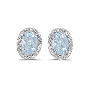 14K White Gold Oval Aquamarine and Diamond Earrings (3/4ct TGW) from Amanda Rose Collection