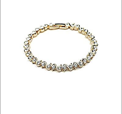 Bracelet with Swarovski Diamond Crystals in Gold Finish